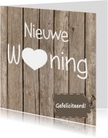 Felicitatiekaarten - Nieuwe woning hout/label