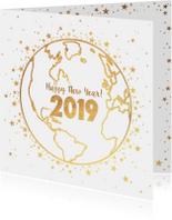 Nieuwjaar goud wereldbol met sterren 2019