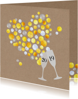 Nieuwjaarskaarten - Nieuwjaar Gouden Champagne bubbelhart