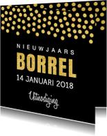 Uitnodigingen - Nieuwjaarsborrel uitnodiging confetti goud - LB