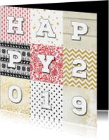 Nieuwjaarskaarten - Nieuwjaarskaart 2019 patchwork