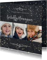 Nieuwjaarskaarten - Nieuwjaarskaart 3 foto's met sterretjeseffect en krijtbord
