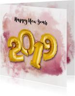 Nieuwjaarskaarten - Nieuwjaarskaart ballon 2019 goud watercolours paars