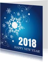 Nieuwjaarskaarten - Nieuwjaarskaart  blauw design 2018