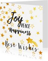 Nieuwjaarskaarten -  nieuwjaarskaart goud sterren