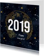 Nieuwjaarskaart goudlook geometrisch met sterren