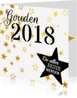 Nieuwjaarskaarten - Nieuwjaarskaart krijt goud zwart
