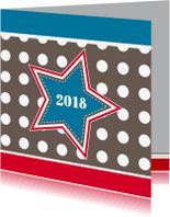 Nieuwjaarskaarten - Nieuwjaarskaart met ster en stippen