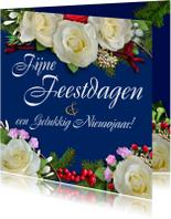 Nieuwjaarskaarten - Nieuwjaarskaart met witte rozen en andere bloemen - HE