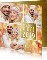 Nieuwjaarskaarten - Nieuwjaarskaart trendy fotocollage 2019 goud