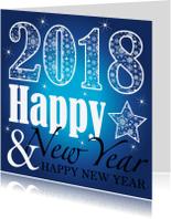 Nieuwjaarskaarten - Nieuwjaarskaart  typografie blauw design - LB
