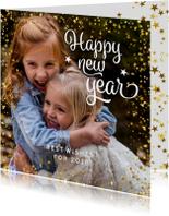 Nieuwjaarskaarten - Nieuwjaarskaart vierkant met sterren en foto