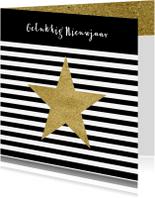Nieuwjaarskaarten - Nieuwjaarskaart zwart wit goud - OT