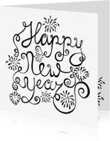 Uitnodigingen - Nieuwjaarskaart zwart-wit