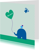 Felicitatiekaarten - Olifantje met ballon