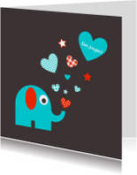 Felicitatiekaarten - Olifantje met hartjes en sterren