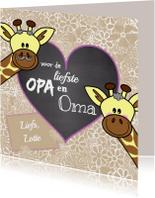 Opa & Omadag kaarten - Opa en Oma giraffe bloemen