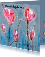Opa & Omadag kaarten - Opa & oma kaart klaprozen roze