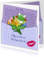 Beterschapskaarten - Opkikker met brief en bloemen