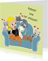 Bedankkaartjes - Oppassen op kat