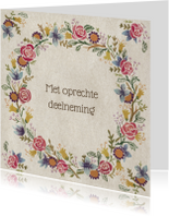 Condoleancekaarten - oprechte deelneming bloemenkrans