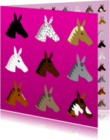 Dierenkaarten - Paardenpatroon Roze