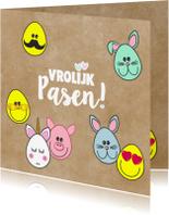 Paaskaarten - Paaskaart met vrolijke paaseitjes