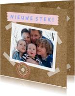 Verhuiskaarten - Papier tape look eigen foto txt