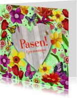 Paaskaarten - Pasen Bloemen Hout Hart