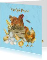 Paaskaarten - Pasen kip en kuikens