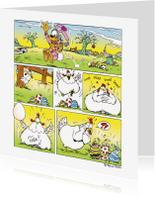Paaskaarten - Pasen Loeki strip kip A