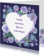 Felicitatiekaarten - Pensioen hart bloemen