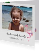 Vakantiekaarten - Polaroid vakantiekaart foto flamingo