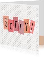 Sorry kaarten - Polkadot sorry!