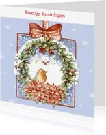 Kerstkaarten - Prettige Kerstdagen met vogel in krans