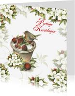 Kerstkaarten - Prettige Kerstdagen roodborstje appels