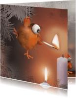 Kerstkaarten - Ptie Foe steekt kaarsjes aan