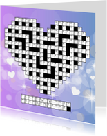 Liefde kaarten - Puzzelkaart Liefde met cijfercode in hartvorm