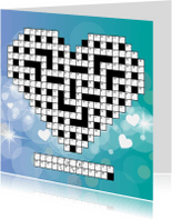 Valentijnskaarten - Puzzelkaartje Valentijn met cijfercode in hartvorm