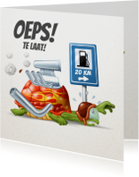 Verjaardagskaarten - Race schildpad staat zonder benzine