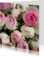 Bloemenkaarten - Ranonkel gekleurd roze wit