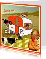 Vakantiekaarten - Retro caravan