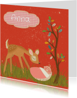 Geboortekaartjes - Retro geboortekaart meisje