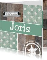 Geboortekaartjes - Retro groen met hout geboortekaartje