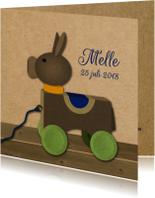 Geboortekaartjes - retro houten ezeltje