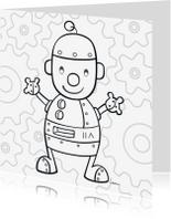 Kleurplaat kaarten - Robotje zwaait