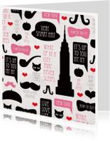 Vakantiekaarten - Romantisch new york snor valentijnskaart