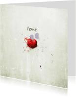Liefde kaarten - Rood Hart Met Love - JD