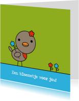 Zomaar kaarten - Roodborstje met bloemetjes