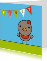 Kinderkaarten - Roodborstje met slinger